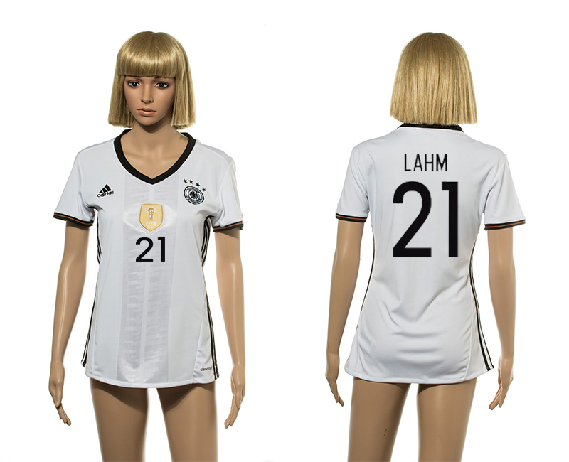 European Cup 2016 Germany home 21 Lahm white women soccer jersey