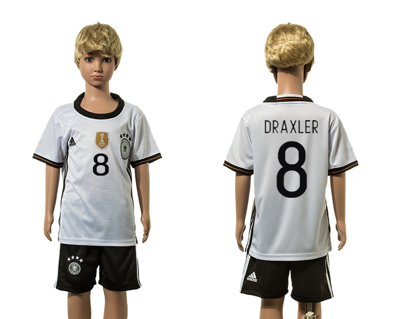 European Cup 2016 Germany home 8 Draxler white kids soccer jersey