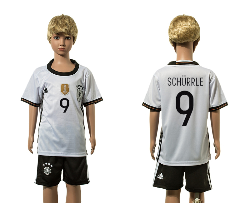 European Cup 2016 Germany home 9 Schurrle white kids soccer jersey