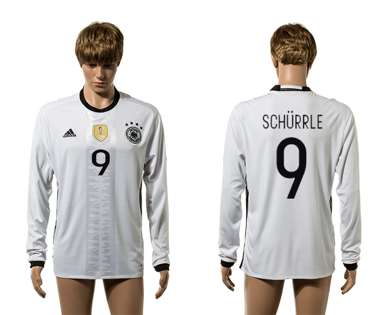 European Cup 2016 Germany home 9 Schurrle white long sleeve AAA+ soccer jersey