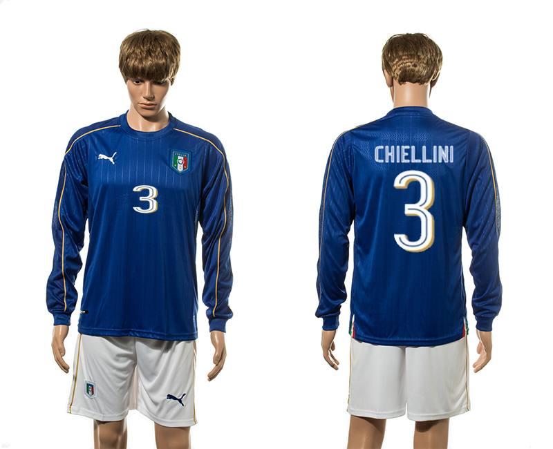 European Cup 2016 Italy home 3 Chiellini blue long sleeve soccer jersey