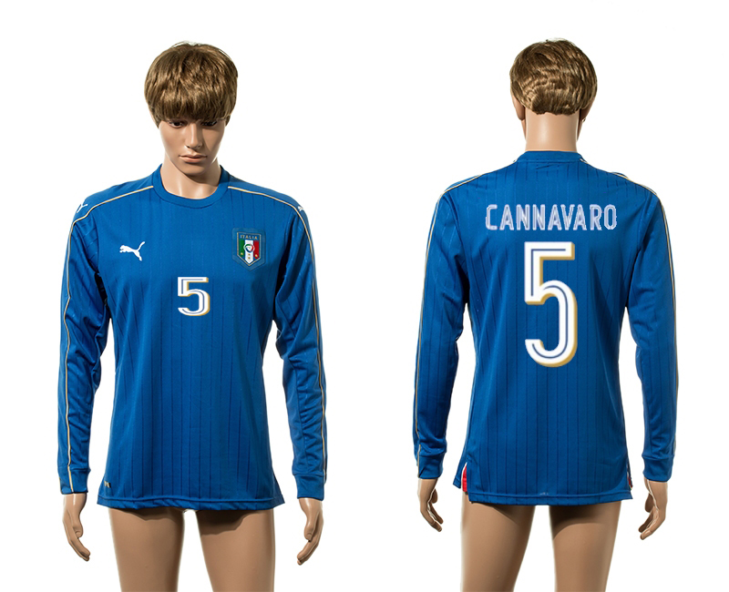 European Cup 2016 Italy home 5 Cannavaro Blue long sleeve AAA+ soccer jersey