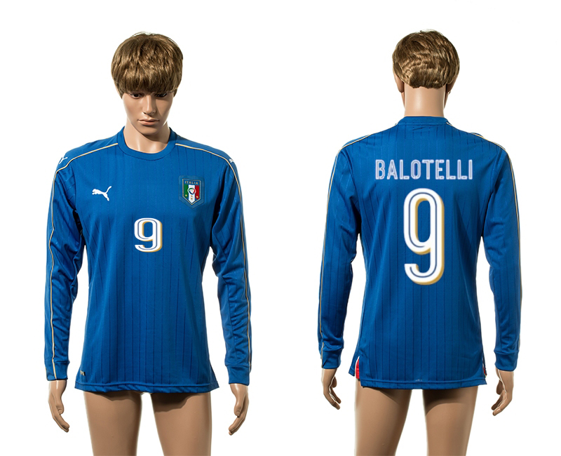 European Cup 2016 Italy home 9 Balotelli blue long sleeve AAA+ soccer jersey