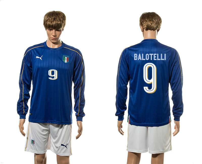 European Cup 2016 Italy home 9 Balotelli blue long sleeve soccer jersey