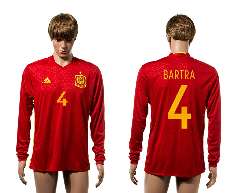 European Cup 2016 Spain home4 Bartra red long sleeve AAA+ soccer jersey