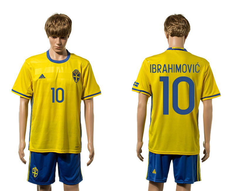European Cup 2016 Sweden home 10 Ibrahimovic yellow soccer jersey