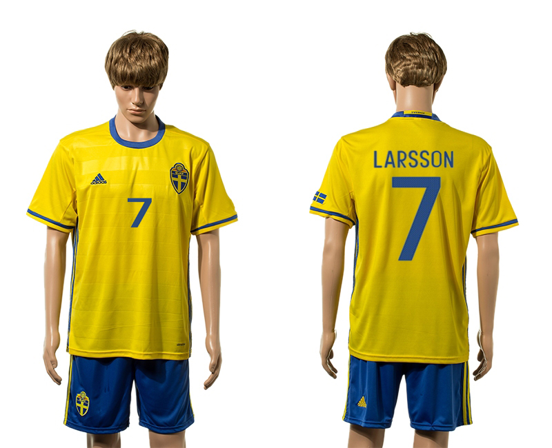European Cup 2016 Sweden home 7 Larsson yellow soccer jersey