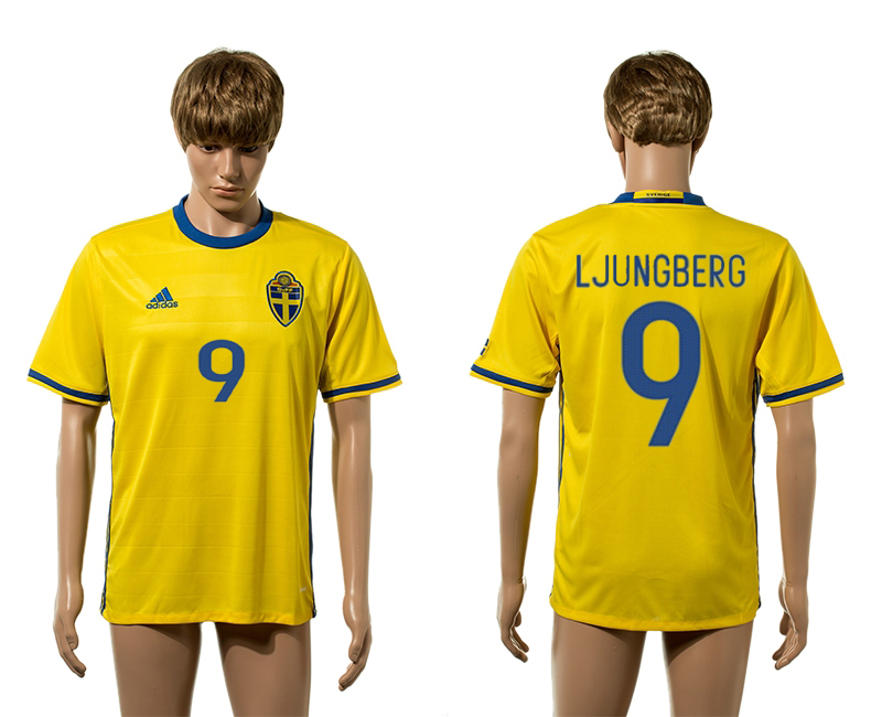 European Cup 2016 Sweden home 9 Ljungberg yellow AAA+ soccer jersey