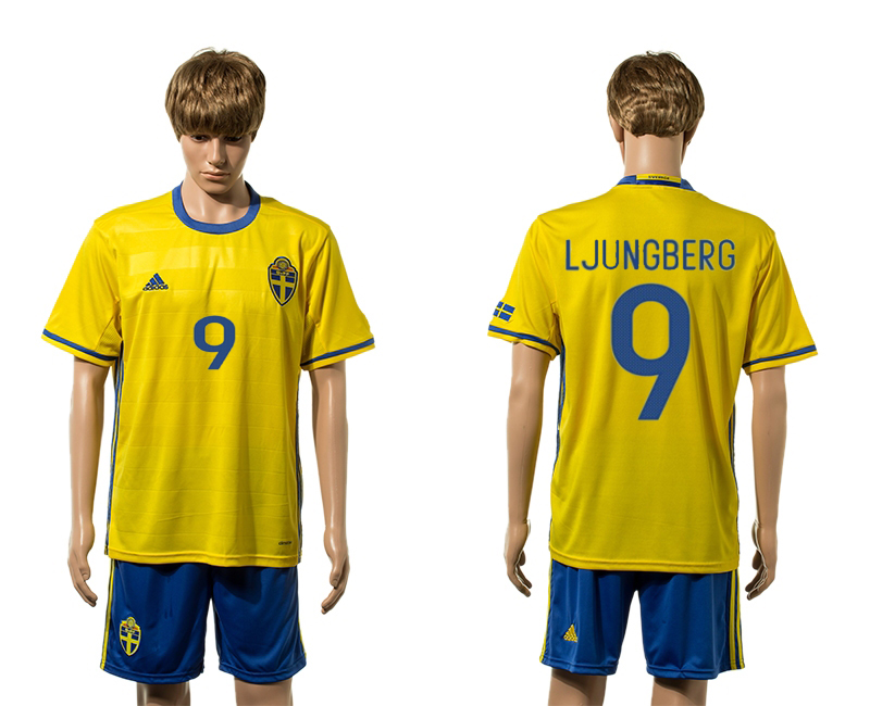 European Cup 2016 Sweden home 9 Ljungberg yellow soccer jersey