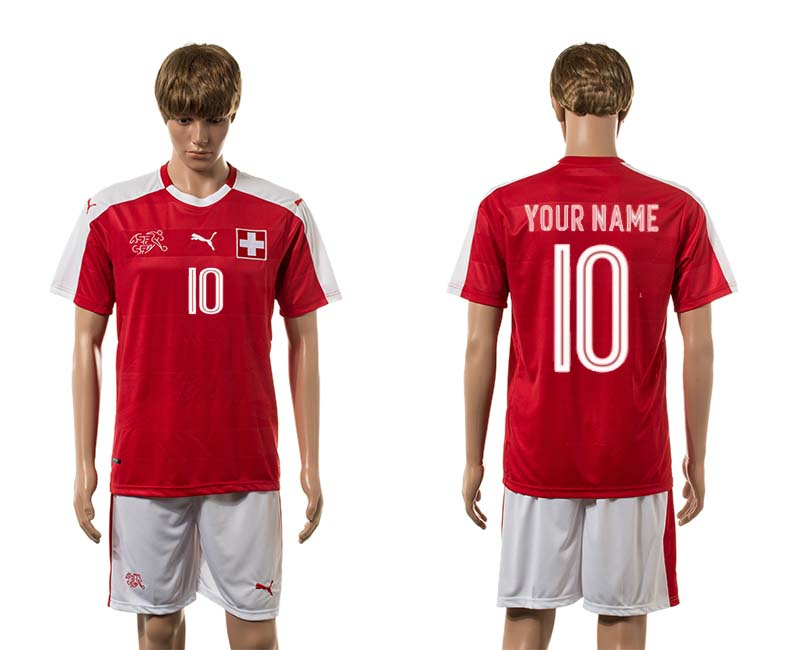 European Cup 2016 Switzerland home 10 customized red soccer jersey