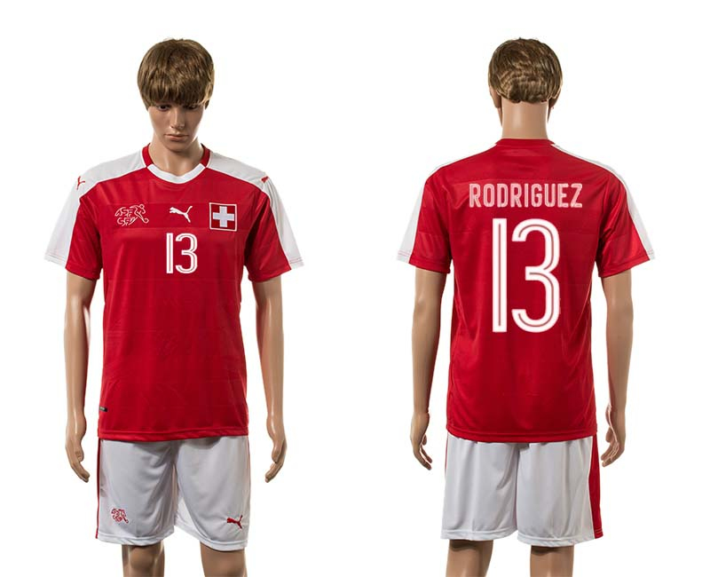 European Cup 2016 Switzerland home 13 Rodriguez red soccer jersey