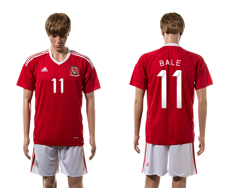 European Cup 2016 Welsh home 11 Bale red soccer jersey