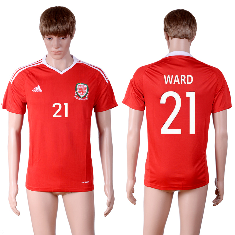 European Cup 2016 Welsh home 21 Red AAA+ Soccer Jersey