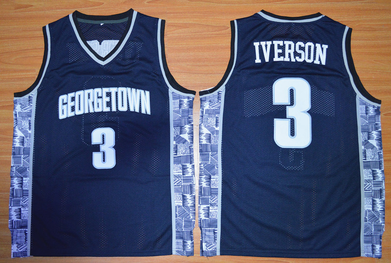Georgetown Hoyas Allen Iverson 3 College Basketball Throwback Jersey - Navy Blue