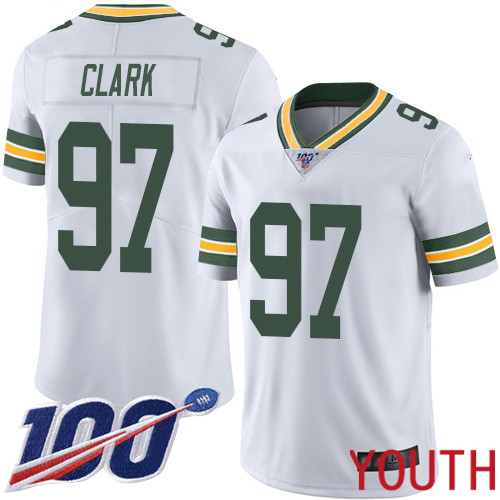 Green Bay Packers Limited White Youth 97 Clark Kenny Road Jersey Nike NFL 100th Season Vapor Untouchable