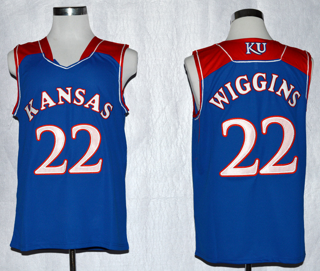 Kansas Jayhawks Andrew Wiggins 22 NCAA Basketball Authentic Jersey - Royal Blue