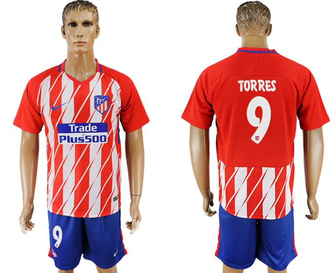 Men 2017-2018 club Atletico Madrid home 9 soccer jersey
