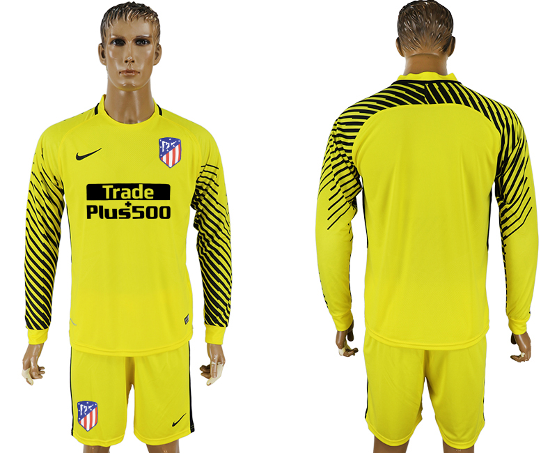 Men 2017-2018 club Atletico Madrid yellow goalkeeper long sleeve soccer jersey