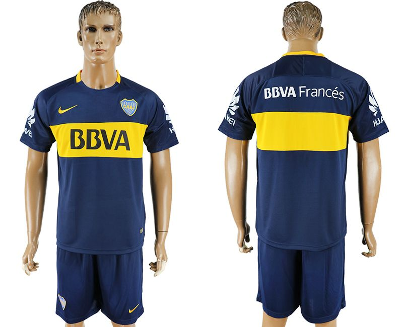 Men 2017-2018 club Boca Juniors home blank blue soccer jersey