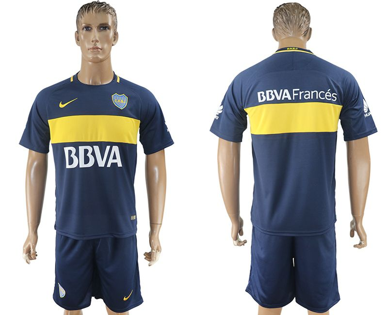 Men 2017-2018 club Boca Juniors home blank blue soccer jersey1
