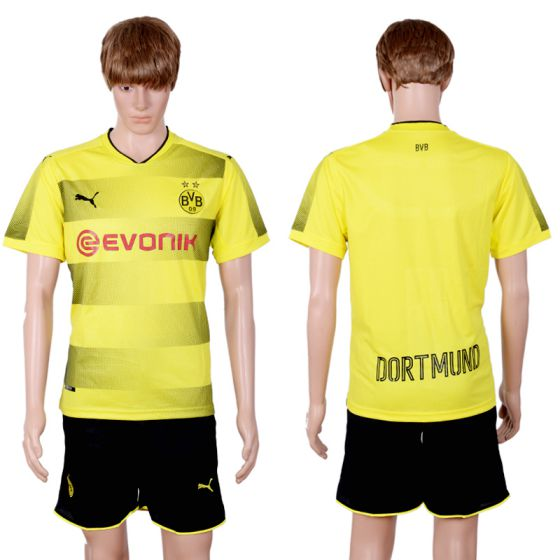 Men 2017-2018 club Dortmund home blank yellow soccer jersey