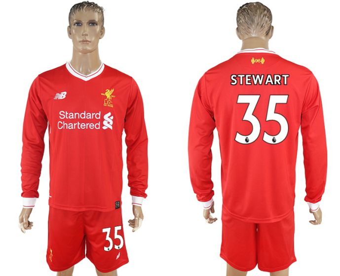 Men 2017-2018 club Liverpool home long sleeves 35 soccer jersey