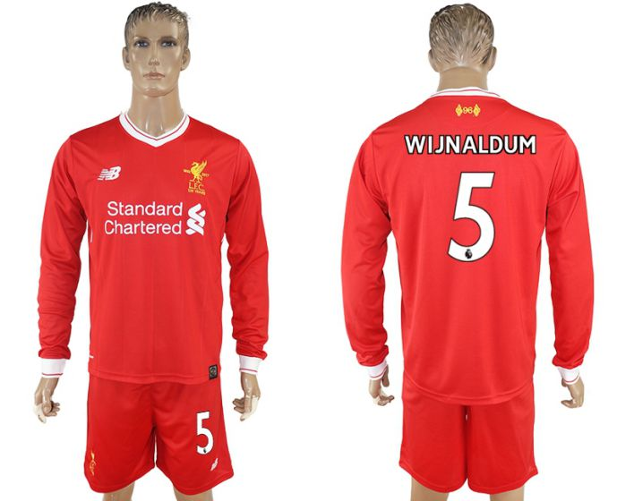 Men 2017-2018 club Liverpool home long sleeves 5 soccer jersey