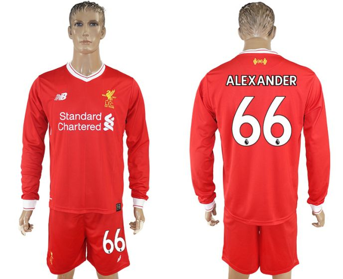 Men 2017-2018 club Liverpool home long sleeves 66 soccer jersey