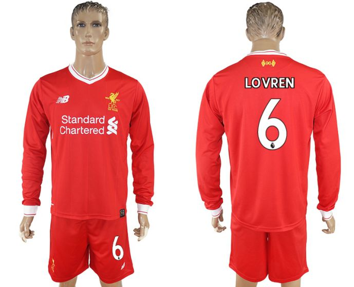 Men 2017-2018 club Liverpool home long sleeves 6 soccer jersey