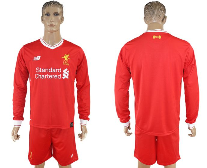 Men 2017-2018 club Liverpool home long sleeves soccer jersey