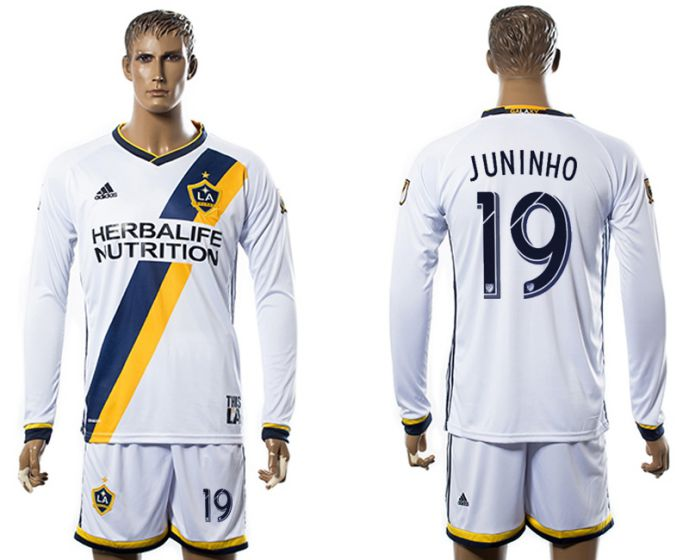 Men 2017-2018 club Los Angeles Galaxy home long sleeve 19 soccer jersey