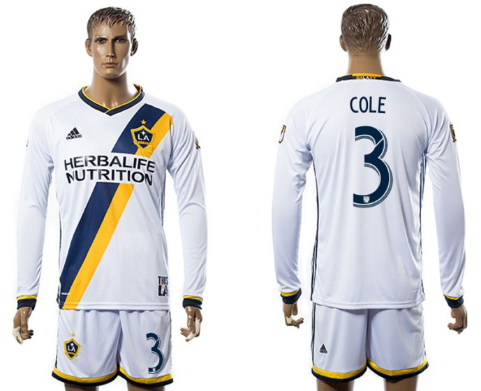 Men 2017-2018 club Los Angeles Galaxy home long sleeve 3 soccer jersey