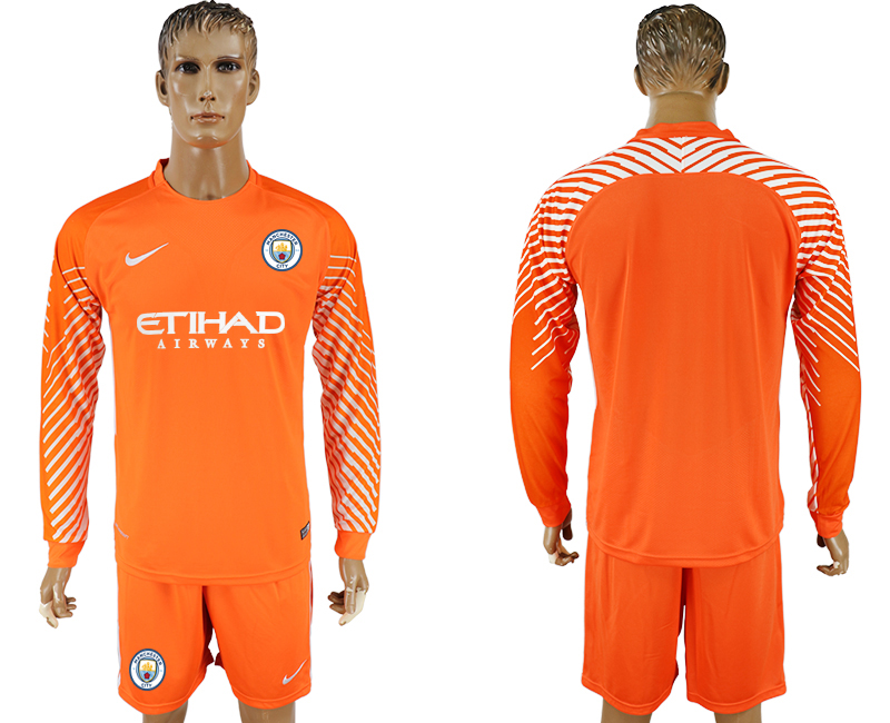 Men 2017-2018 club Manchester city orenge goalkeeper long sleeve soccer jersey