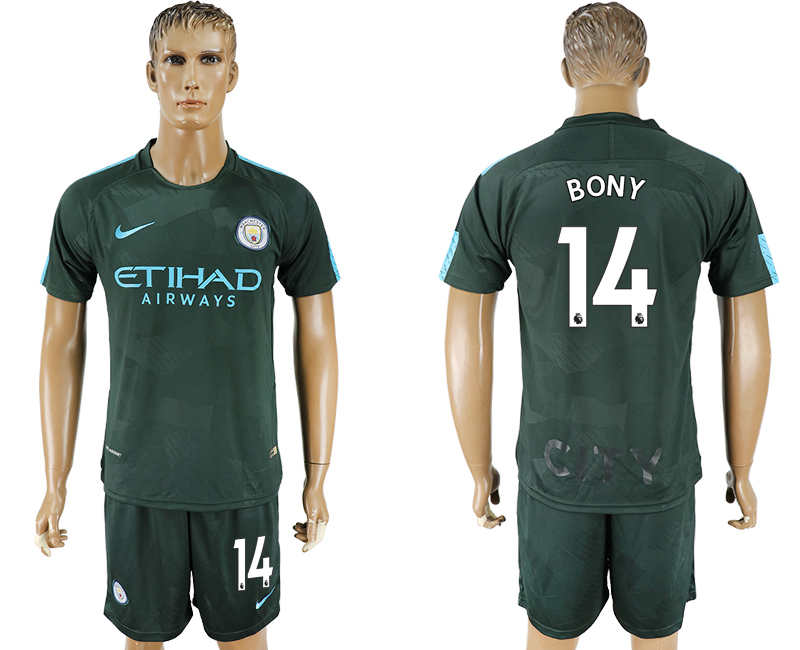 Men 2017-2018 club Manchester city Second away 14 green soccer jersey