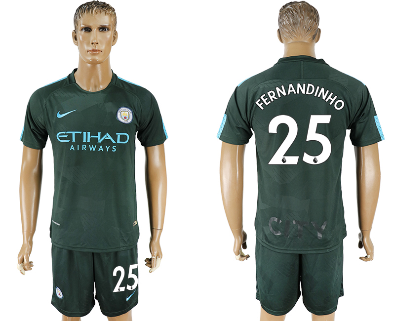 Men 2017-2018 club Manchester city Second away 25 green soccer jersey