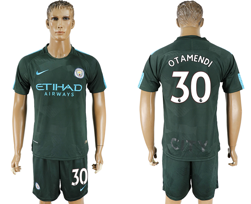 Men 2017-2018 club Manchester city Second away 30 green soccer jersey