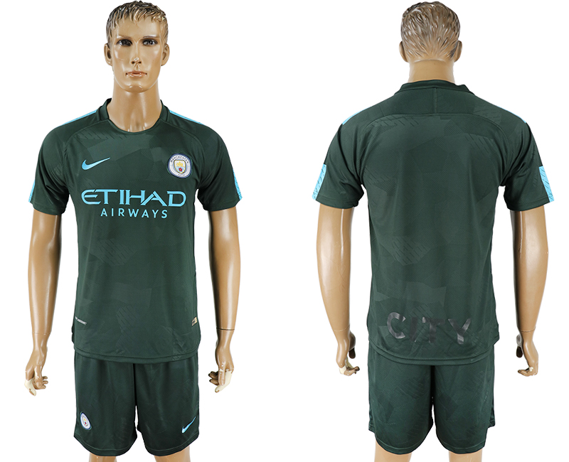 Men 2017-2018 club Manchester city Second away blank green soccer jersey