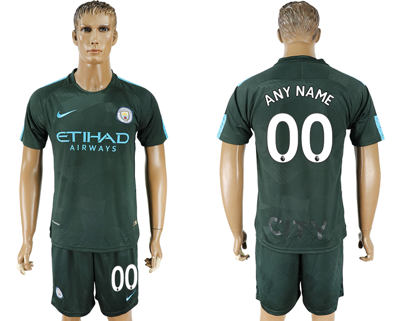 Men 2017-2018 club Manchester city Second away customized green soccer jersey