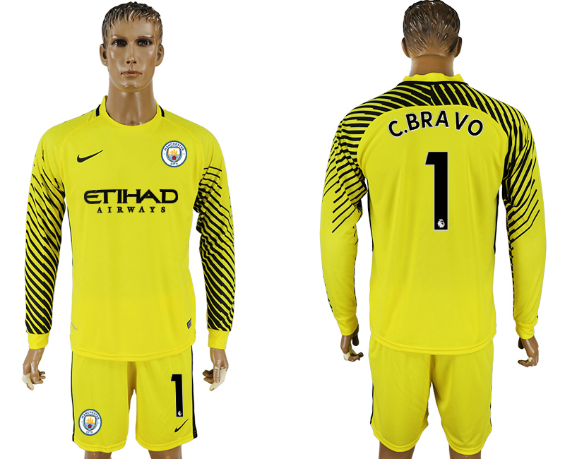 Men 2017-2018 club Manchester city yellow goalkeeper long sleeve 1 soccer jersey