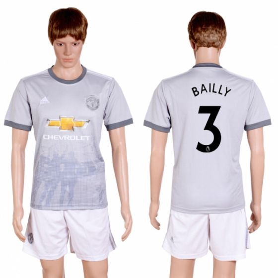 Men 2017-2018 club Manchester united second away 3 grey soccer jersey
