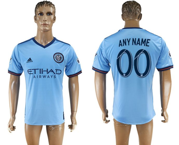 Men 2017-2018 club New York City FC home aaa version customized blue soccer jersey