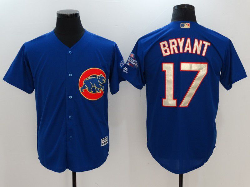 Men 2017 MLB Chicago Cubs 17 Kris Bryant Blue Game Championship Gold Edition jersey