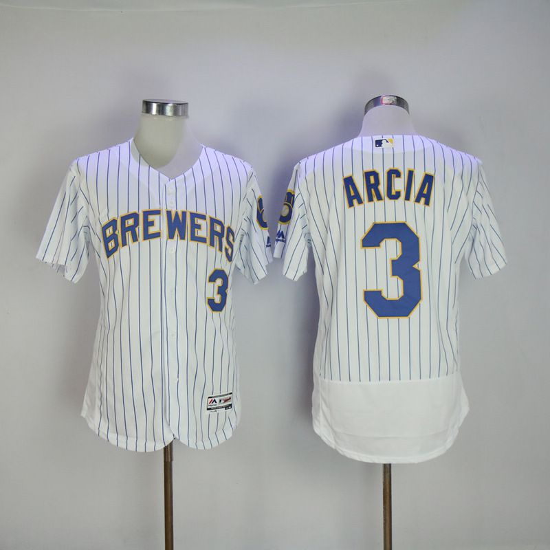 Men 2017 MLB Milwaukee Brewers 3 Orlando Arcia White Elite jersey