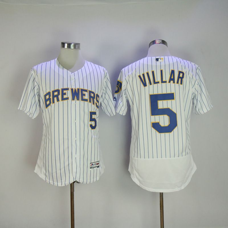 Men 2017 MLB Milwaukee Brewers 5 Jonathan Villa White Elite jersey