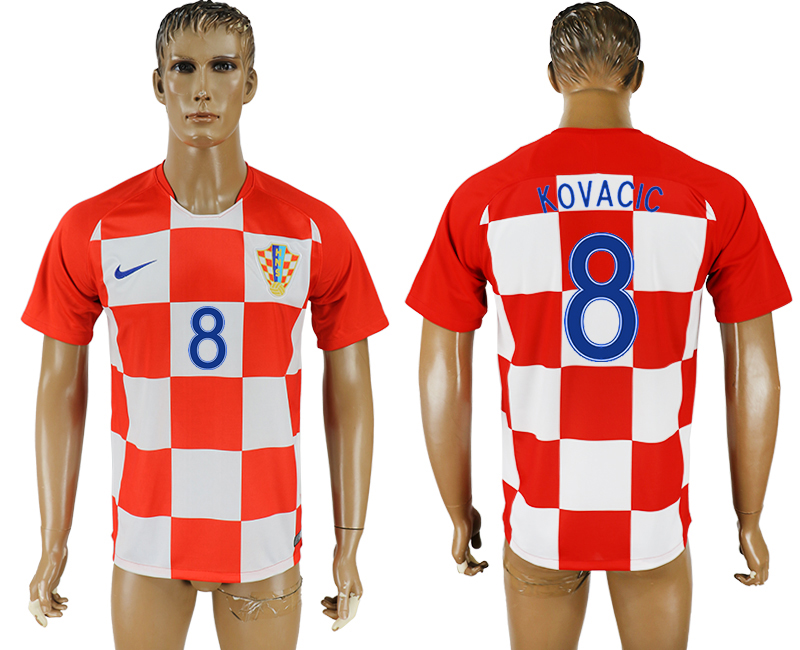 Men 2018 World Cup National Croatia home aaa version 8 soccer jersey