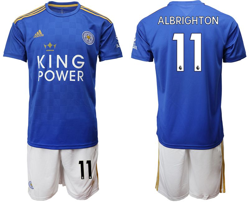 Men 2019-2020 club Leicester City home 11 blue Soccer jersey