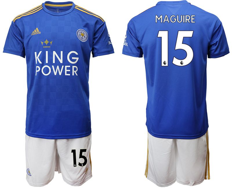 Men 2019-2020 club Leicester City home 15 blue Soccer jersey