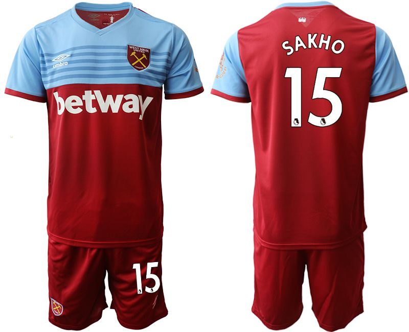 Men 2019-2020 club West Ham United home 15 red Soccer jersey