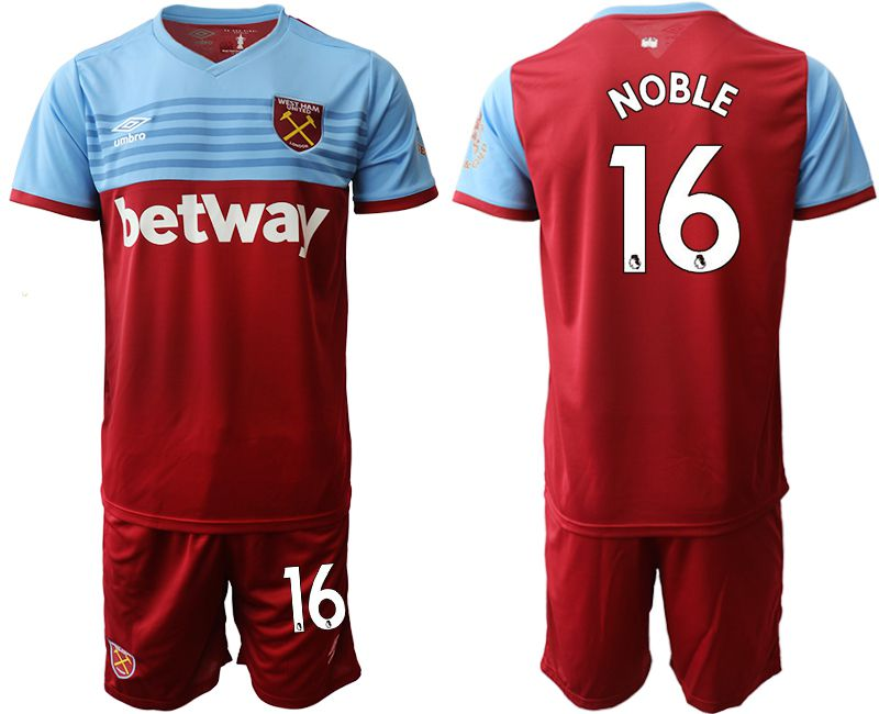 Men 2019-2020 club West Ham United home 16 red Soccer jersey