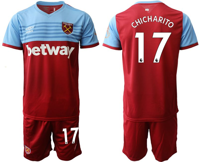 Men 2019-2020 club West Ham United home 17 red Soccer jersey